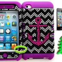 Hybrid Cover Case for Apple Ipod Touch Itouch 4g 4 Pink Anchor on Chevron Waves Bling Pattern Hard Plastic Snap on Over Purple Silicone Gel (Included: Wristband, Earpiece Winder and Screen Protector Exclusively From Wirelessfones TM)