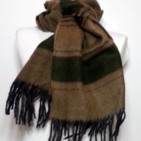 Cashmere Men's Scarf - Green and Mustard Color Scarf - Wool Men's Scarf - B10206