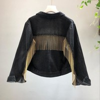 2018 spring and Autumn Woman Tassel Graffiti Denim Jacket Loose Vintage Single Breasted Long Sleeve Jean Jacket Outerwear