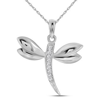 14kt White Gold Womens Round Diamond Butterfly Bug Winged Pendant .03 Cttw 42048