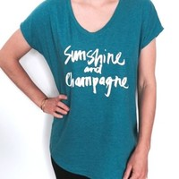 sunshine and champagne tshirt vneck women fashion cute graphic stylish trendy