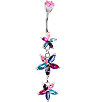 Silver 925 Autumn CZ Floral Drop Belly Ring | Body Candy Body Jewelry