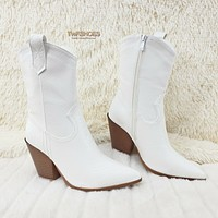 Slayer White Snake Cowgirl Ankle Boots Block Heels US Sizes 7-11