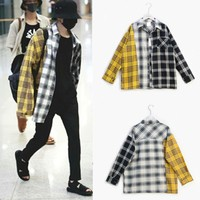 kpop Min Yun new BTS SUGA Bangtan Boys same paragraph Korean spell color plaid shirt shirt Sweatshirts k-pop bts spring autumn