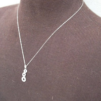 Chrysos Necklace with Silver Pendant with 3 Circle Pendants and CZ Stones on 18 Inch Chain Necklace Jewelry Free Shipping and Gift Box