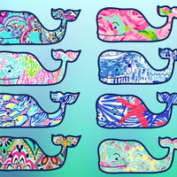 Whale Vinyl Sticker Decal Lilly Pulitzer Inspired Background