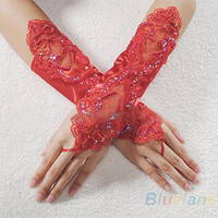 Sexy Bride Party Dress Fingerless Pearl Lace Satin Gloves Costume