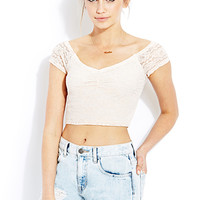 FOREVER 21 Sweet Lace Crop Top Blush Large