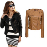 Spring&winter Hot Sell Women Fashion Slim Short Synthetic Leather Jacket Women Black&Brown = 1929767044