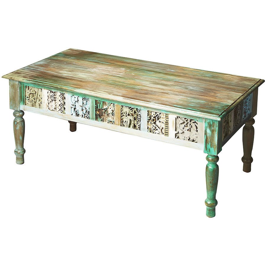 Distressed Hand Painted Coffee Table From Timberwolf Bay