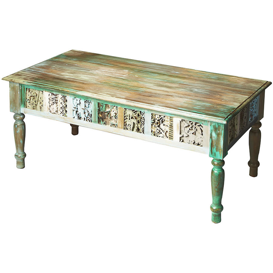 Distressed hand painted coffee table from timberwolf bay Painted coffee table