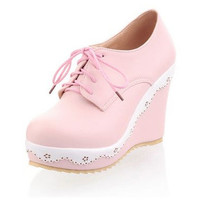 Spring Autumn Style Wedges Flast Platform Women Shoes Casual Solid 3 Colors Lace-Up Fllat Round Toe Soft Leather Handmade