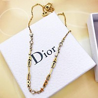 Dior Trending Women Chic Diamond Letter Necklace Jewelry