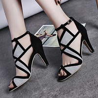 New Coloured Open-toed Women's Fine-heeled Super High-heeled Sandals 35-42 Size Grey