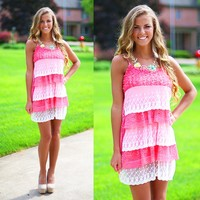 Tiers of Lace Dress in Pink