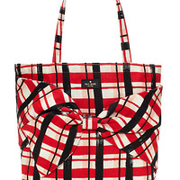 Kate Spade On Purpose Plaid Tote Spicy Red ONE