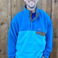 Patagonia Men's Lightweight Synchilla Snap-T Pullover- Underwater Blue
