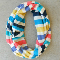 Rainbow Striped Infinity Scarf [6134] - $12.00 : Vintage Inspired Clothing & Affordable Dresses, deloom   Modern. Vintage. Crafted.