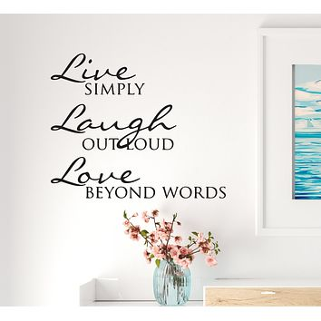 Wall Decal  Love Live Laugh Positive Inspiration Art Vinyl Decor Black 22.5 in x 18.5 in gz523