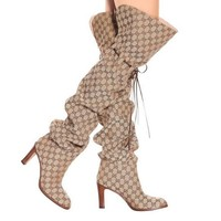 GUCCI Newest Winter Fashion Lisa Leather-Trimmed Logo-Jacquard Over-The-Knee Boots High Heels