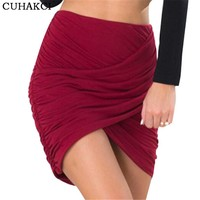 2017 Street Red Skirts Women Draped Short Skirt Overlapping Bandage Bodycon Apparel For Clubwear Cross Fold Sexy Skirts D037