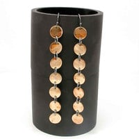 Brass Disc and Sterling Silver Earrings by SwankMetalsmithing