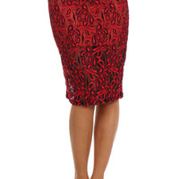 Lace Midi Bodycon Skirt - Red