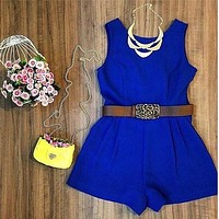 New Summer Rompers Womens Jumpsuit Sleeveless Shorts No Belt Basic Jumpsuit Blue Playsuit Overalls macacao feminino S5435