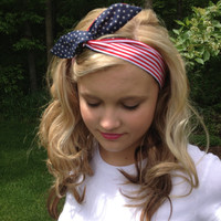 God Bless America Wired Headband in Stars and Stripes Reversible Print Summer Trend Headwrap