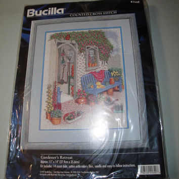 Bucilla Gardener's Retreat Counted Cross Stitch Kit 1997 Flowers Gardening Trellis Wisteria Hollyhocks