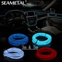 3m 5m 12V Car LED Cold light Flexible Neon EL Wire Auto Lamps on Car Ambient Cold Light Line Decorative LED Strip lamps For Cars