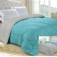 Turquoise/Stone Gray Reversible College Comforter - Twin XL