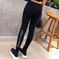 """""""Balenciaga"""" Women All-match Casual Simple Fashion Letter Embroidery Tight Thickened Leggings Pants Trousers Sweatpants"""