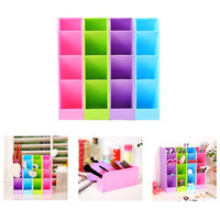 4PCS Multifunctional Candy Color Underwear Socks Stationery Tableware Plastic Box Cosmetics Makeup Storage Bins Cube Organizer