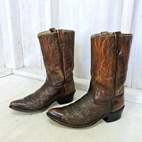 Vintage 70s cowboy boots 10 D Mens / Rustic  Rugged 70s Acme boots  / Circle A USA / brown tooled western boots