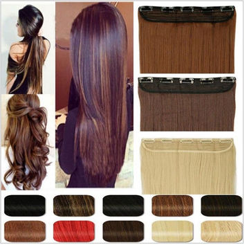 US Free Ship mega clip in hair extensions 26 inch Straight false synthetic Hair extensiones 130g rust brown gray blonde color