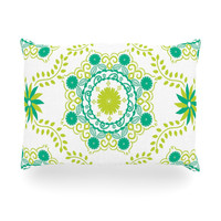 "Anneline Sophia ""Let's Dance Green"" Teal Floral Oblong Pillow"