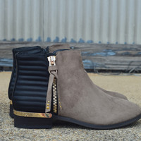 Zarra Bootie by GC {Black/Taupe}