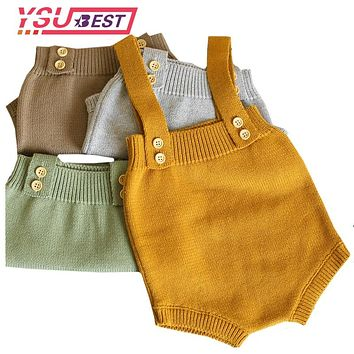 0-24M Baby Knitting Rompers Cute Overalls born Autumn Baby Boys Clothes Infantil Baby Girl Boy Sleeveless Romper Jumpsuit