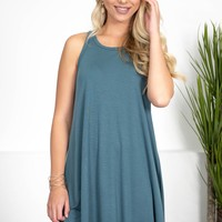 Teal Blue Shift Dress