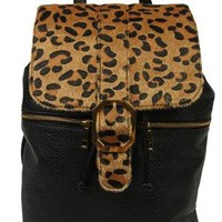 leather backpack with leopard print - debshops.com