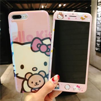 Cute Kitty case + glass flim For iPhone 7 7Plus Tempered Glass Screen film & blue ray KT Cover for iPhone X 8 8plus 6 6S 6SPlus