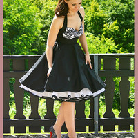 50's vintage dress full skirt Sweetheart black and white perfect for a petticoat Tailor Made