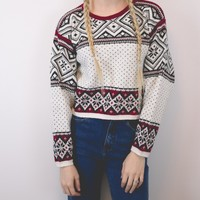 Vintage Cropped Nordic Sweater