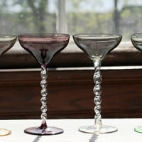 Vintage Blown and Twisted Glass with Colored Stems, Champagne Cocktail Liquor Wine Glasses Set of 4
