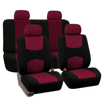 FH Group Burgundy Full Set Fabric Auto Seat Covers | Overstock.com Shopping - The Best Deals on Car Seat Covers