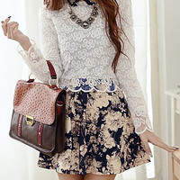 Floral Printed Long Sleeve Embroidered Mini Dress