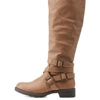 Camel Belt-Wrapped Lug Sole Riding Boots by Charlotte Russe