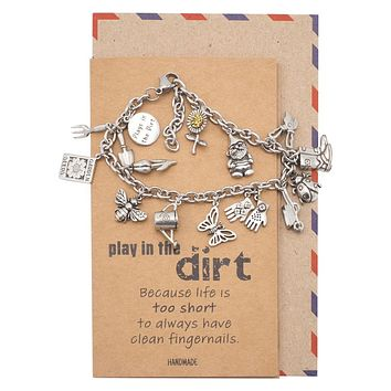 Daleyza 9 Garden Charms Bracelet, Inspirational Gifts for Women with Greeting Card