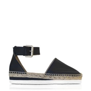 See by Chloe Designer Shoes Black Leather Espadrille w/Ankle Strap